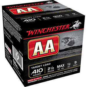 "Winchester AA Target .410 Bore Shot Shells 250 Rounds 2 1/2"" #9 Lead 1/2 Ounce AA419"