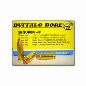 Buffalo Bore .38 Super +P Ammunition 20 Rounds FMJ FN 124 Grains 33C/20