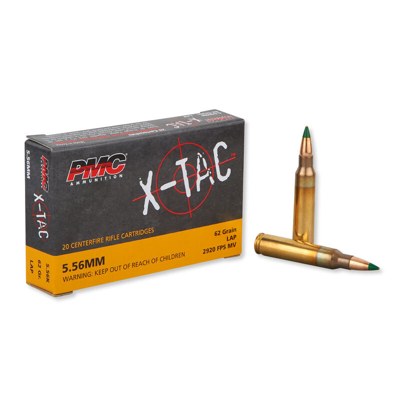 PMC X-TAC 5.56 NATO M855 Ammunition 20 Rounds SS109 Green Tip FMJ 62 Grains 556K