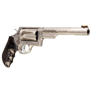 "Taurus Judge .45 Long Colt/.410 Bore Revolver 6.5"" Barrel 2.5"" Chamber 5 Rounds Custom Grips/Engraving Matte Stainless Steel Finish"