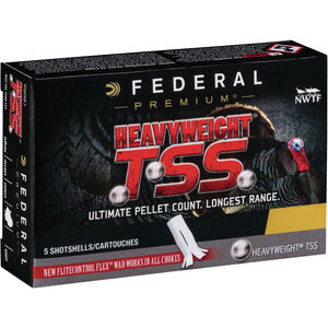 """Federal HEAVYWEIGHT TSS 20 Gauge Ammunition 5 Rounds 3"""" Shell #9 Tungsten Shot 1-1/2 Ounce 1200fps"""