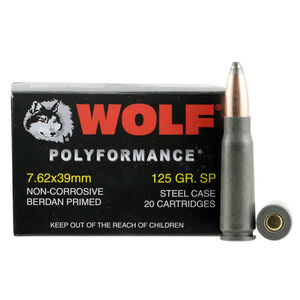 Wolf Polyformance 7.62x39mm Ammunition 125 Grain Bi-Metal Jacketed SP Steel Cased 2410 fps