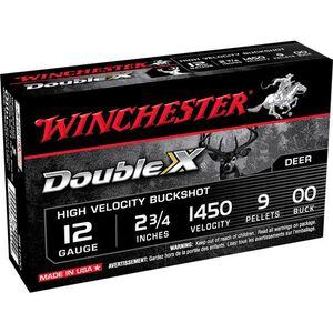 "Winchester Double X 12 Gauge Ammunition 5 Rounds 2-3/4"" Shell 00 Buck Plated 9 Pellets 1450 fps"