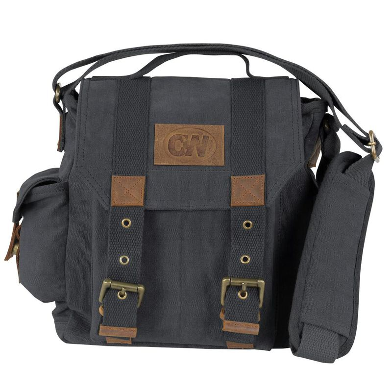 Camp-Ways Vintage Retro Daily Bag Distressed Black Canvas and Tan Leather Accents
