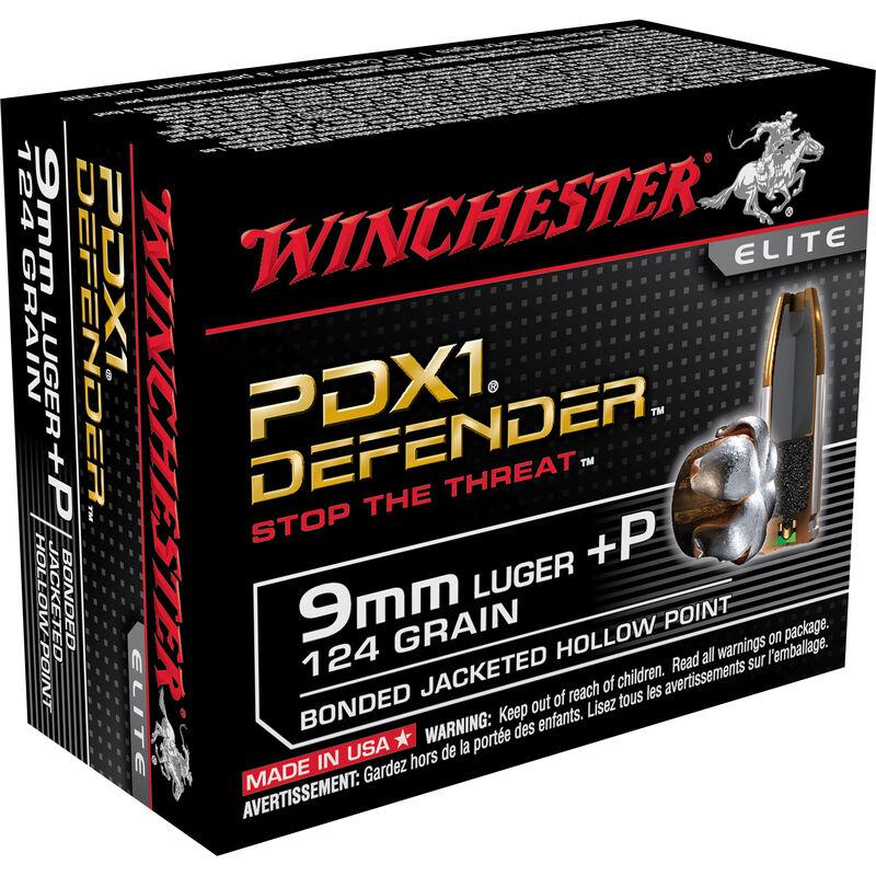 Winchester PDX1 Defender 9mm Luger +P Ammunition 200 Rounds, JHP, 124 Grain