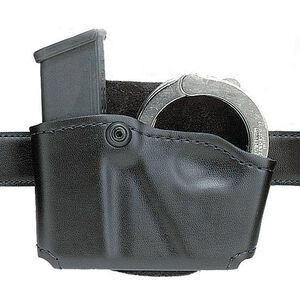 Safariland Model 573 Open Top Magazine/Handcuff Pouch Fits GLOCK 17/19 Leather Look Right Hand Draw Plain Finish Black 573-383-21