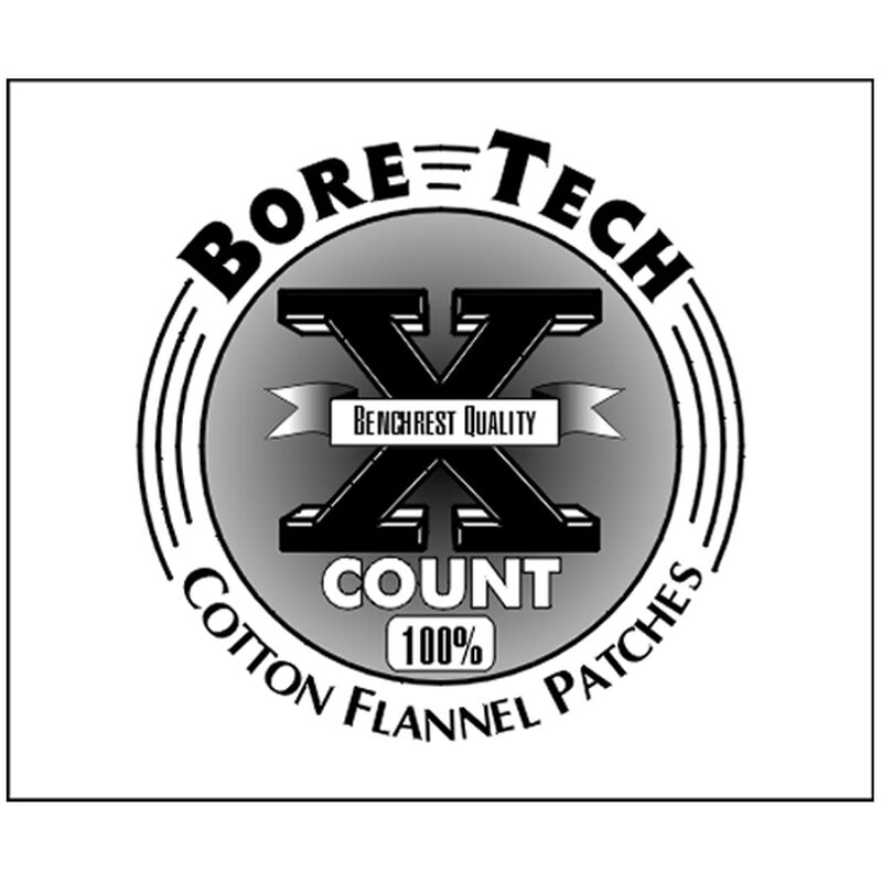 "Bore Tech X-Count Cotton Patches 1-3/4"" Square 6mm/6.5mm/7mm and .250/.38 Caliber Cotton Flannel 500 Count BTPT-134-S500"