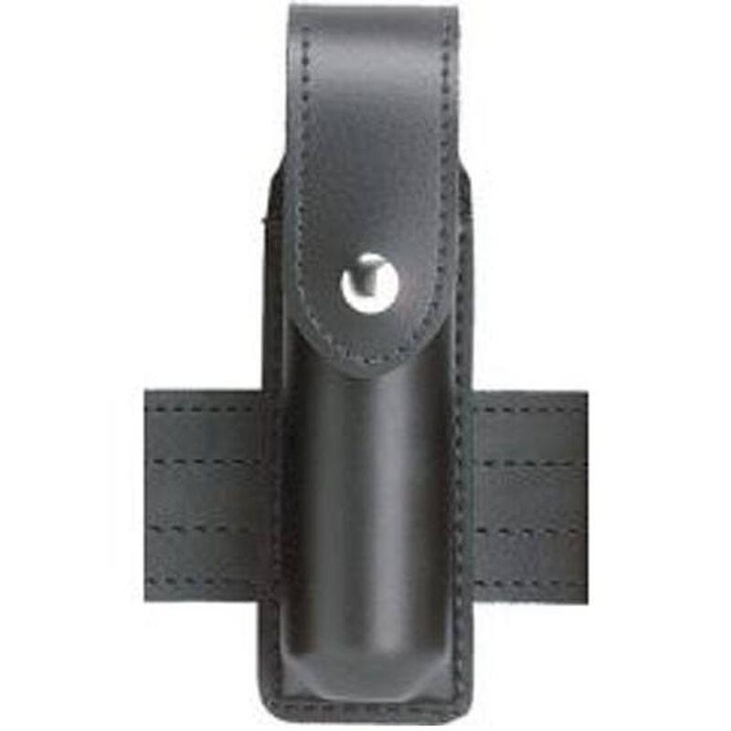 "Safariland Model 38 OC Spray Holder Standard Top Flap 1.5""x4""-4.5"" SafariLaminate Chrome Snap Closure Plain Black 38-4-2"