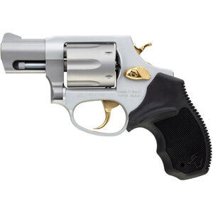 """Taurus UL 856 .38 Special +P DA/SA Revolver 2"""" Barrel 6 Rounds Black Rubber Grips Stainless Finish with Gold Accents"""