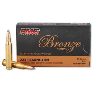 PMC Bronze .223 Remington Ammunition 20 Rounds 55 Grain Pointed Soft Point 3200fps