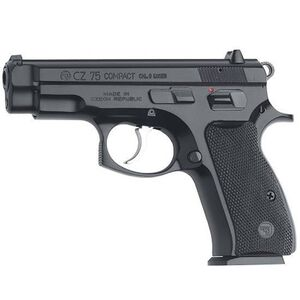"CZ 75 Compact Semi Automatic Handgun 9mm 3.8"" Barrel 10 Rounds Black Plastic Grips Black Polycoat Finish"