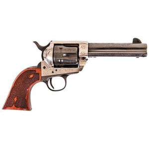 "Cimarron Frontier Single Action Engraved Revolver .45 LC 4.75"" Barrel OSF Checkered Walnut Grips Blued Cylinder and Barrel"