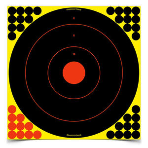 "Birchwood Casey Shoot N C 17.25"" Bulls-Eye Self-Adhesive Target Reactive Paper Target Indoor/Outdoor Black Neon 12 Pack 34186"