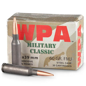 Wolf Military Classic 5.45x39 Ammunition 750 Rounds 60 Grain Full Metal Jacket Steel Cased Bi-Metal Jacket 2822fps