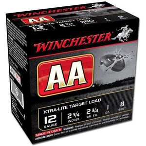 "Winchester AA 12 Ga 2.75"" #8 Lead 1oz 25 Rounds Xtra-Lite"