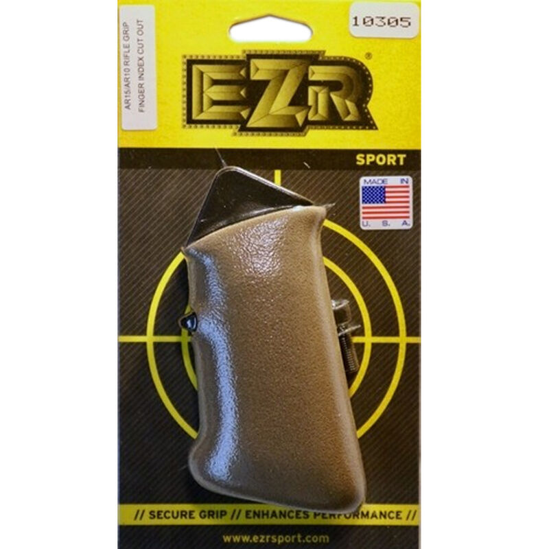 EZR Sport AR15/AR10 Rifle Grip with Finger Index and Grip Sleeve with Cut-Out Polymer FDE