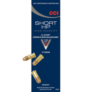 CCI .22 Short Ammunition 5,000 Rounds Copper Plated HP 27 Grain 1,105 Feet Per Second