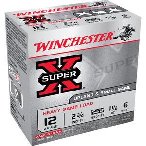 "Winchester Super X Heavy Game 12 Gauge Ammunition 25 Rounds 2.75"" #6 Lead 1.125 Ounce XU12H6"