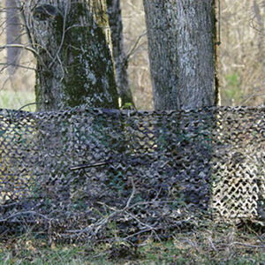 "Camo Unlimited Portable Ground Blind Camouflage Netting 3-D Leaf Like Foliage 38""x10' with 4 Collapsible Fiberglass Polls Green/Brown"