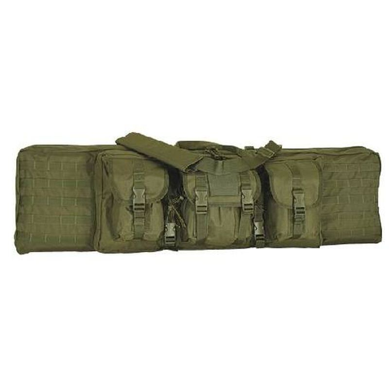 """Voodoo Tactical Enhanced Padded Rifle Weapon Case Single/Double Gun 42"""" MOLLE Soft Case OD Green Finish"""