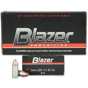 CCI Blazer 9mm Luger Ammunition 50 Rounds FMJ 124 Grains 3578