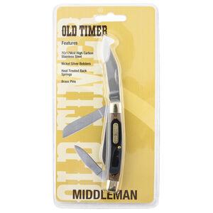 "Schrade Old Timer ""Middleman"" Folding Stainless Steel 3 Blade with Derlin Handle"