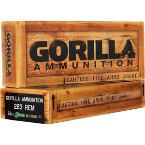 Gorilla Match .223 Rem Ammunition 20 Rounds 55 Grain Sierra Blitzking Polymer Tip 3050 fps