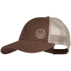 Beretta Logo Trucker Cap Mesh Back Adjustable Fit Velcro Closure Cotton/Mesh Kahki