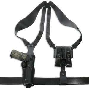 Galco Vertical Shoulder Holster System For GLOCK 17, 19, 22, 23 Ambidextrous Leather Black VHS3226B