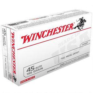 Winchester USA .45 ACP Ammunition 185 Grain FMJ 910 fps