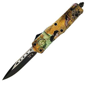 "Templar Knife Full Liberty OTF Knife 3.5"" Black SS Plain Drop Point Blade OTF Push Button Opening Pocket Clip Glass breaker Aluminum Handle"