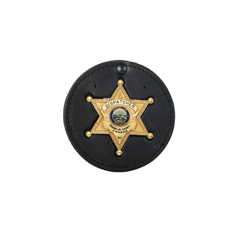 """Boston Leather 3.75"""" Circle Recessed Badge Holder with Clip Leather Black 600-5011"""