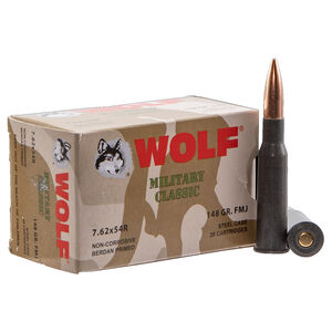 Wolf Military Classic 7.62x54R Ammunition 500 Rounds 148 Grain Full Metal Jacket Bi-Metal Jacket/Cased 2740fps