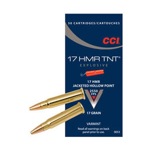 CCI TNT .17 HMR Ammunition 2,000 Rounds Hollow Point 17 Grain 2,550 Feet Per Second