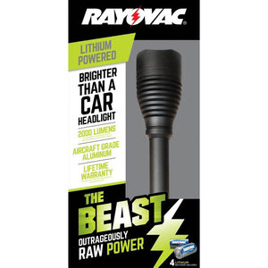 Rayovac The Beast Handheld Flashlight 2000 Lumens LED Bulb CR123A Batteries Aluminum Black