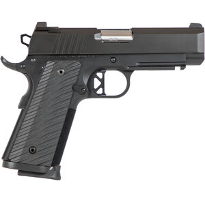 "Dan Wesson TCP 9mm Luger 1911 Semi Auto Pistol 4"" Bull Barrel 8 Rounds Commander Sized Profile G10 Grips Black Duty Finish"