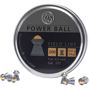 RWS Power Ball Field Line Air Gun Pellets .177 Caliber 9.4 Grain Lead Pellet with Steel Ball 200 Round Tin