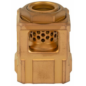 Chaos Gear Supply Official Qube Compensator 9mm Luger 1/2x28 Thread Pitch 17-4H900 Stainless Steel Gold/Gold Finish