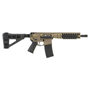 "LWRC IC DI AR-15 5.56 NATO Semi Auto Pistol 10.5"" Barrel 30 Rounds Modular Free Float Rail System SB4M Pistol Brace Flat Dark Earth Finish"