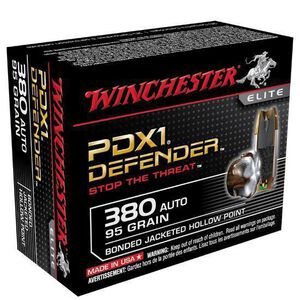 Winchester PDX1 Defender .380 ACP  95 Grain Bonded JHP 20 Rounds