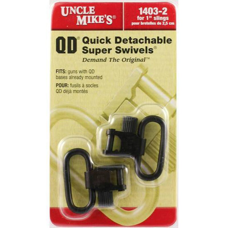 """Uncle Mike's Quick Detach 1"""" Sling Swivel Set Package Of Two Steel Black"""