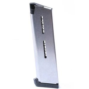 Wilson Combat 1911 Government/Commander Full Size 8 Round Magazine .45 ACP Lo-Profile Steel Base Pad Stainless Steel Natural Finish