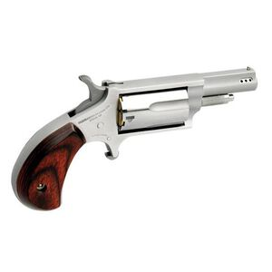 """North American Arms Ported Magnum Revolver Micro Compact 22LR 22WMR 1.625"""" 5 Rounds Stainless Steel Wood Grips"""