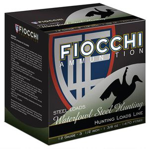 "Fiocchi Waterfowl Steel Hunting 12 Gauge Ammunition 250 Rounds 3-1/2"" #BBB Shot 1-3/8oz Steel 1470fps"