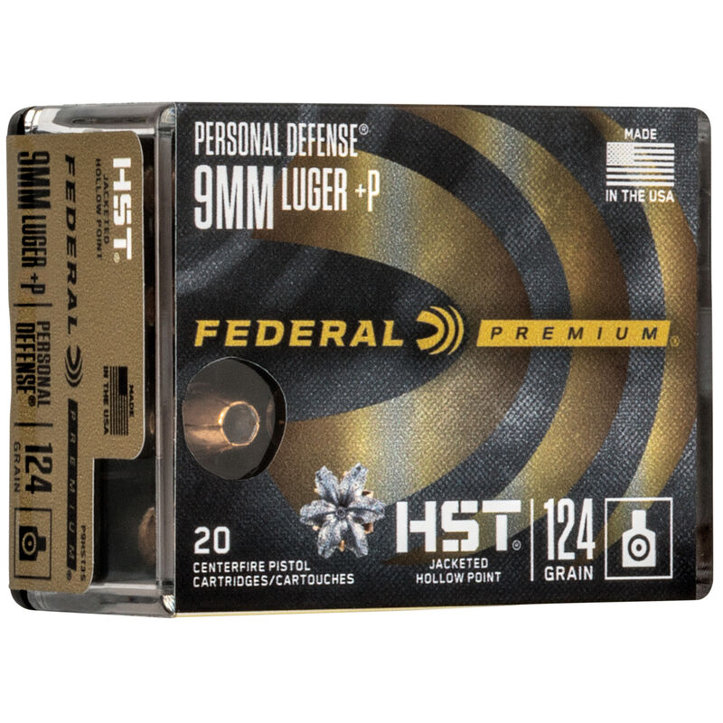 Federal Personal Defense HST 9mm Luger +P Ammunition 124 Grain JHP 1200 fps