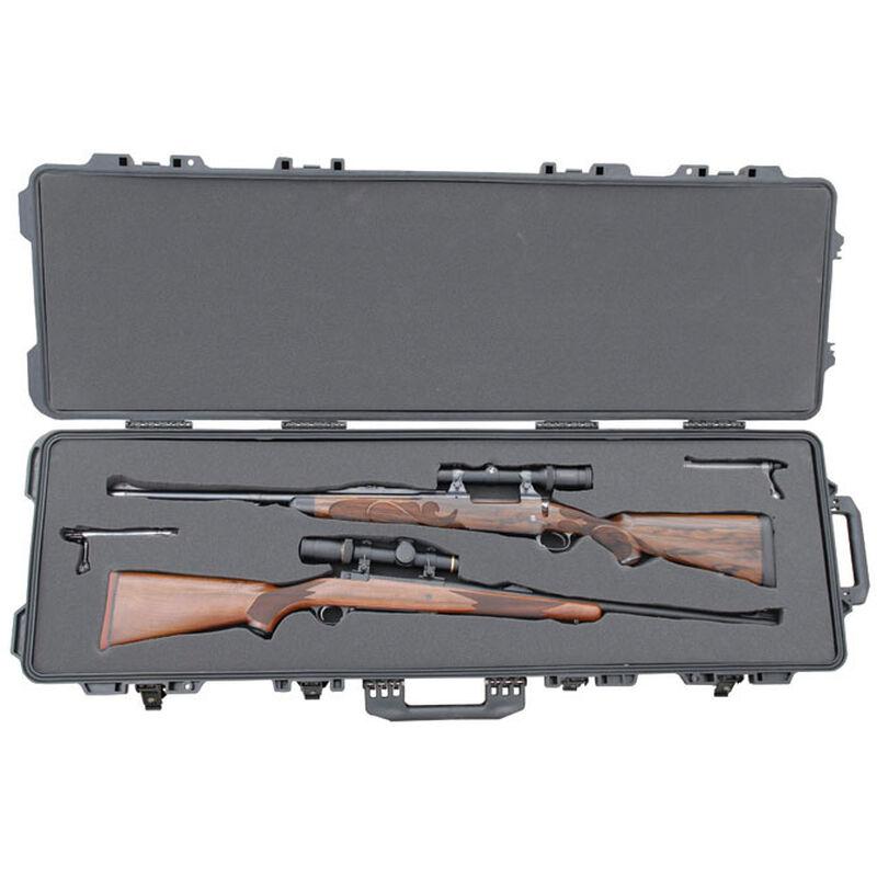 "Boyt H51 Double Long Gun Case 53.5""x17.25""x7"" Water Resistant O-Ring Full Length Gasket High Density Egg Crate Foam Injection Molded Hard Case Matte Black Finish"