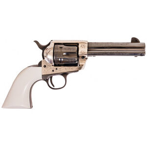 """Cimarron Frontier Revolver 45 LC 4.75"""" Barrel 6 Rounds Old Silver Frame Poly Ivory Grips Blued"""