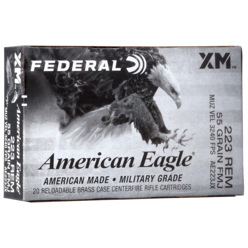 Federal American Eagle .223 Rem Ammunition 55 Grain FMJBT 3240 fps 20 Rounds