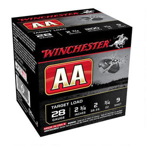 "Winchester AA Target 28 Gauge Ammunition 250 Rounds 2.75"" #9 Lead 3/4 Ounce AA289"