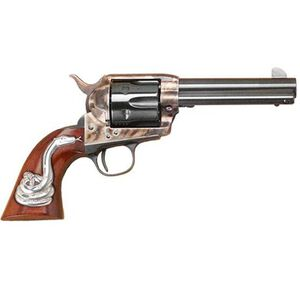 """Cimarron Man With No Name .45 LC Single Action Revolver 4.75"""" Barrel 6 Rounds Hollywood Series Walnut Grips with Rattlesnake Inlay Case Color/Blued Finish"""